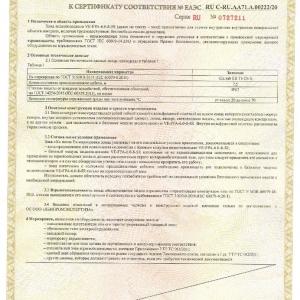 Сертификат на взрывозащищённый зонд для видеоэндоскопа производства SATEKO. Приложение 3.